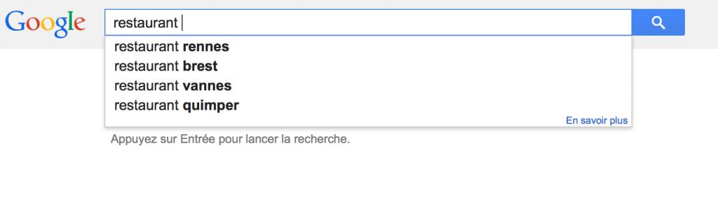"""Résultats de recherche pour le mot clé """"restaurant"""" une fois localisé à Rennes par Google"""