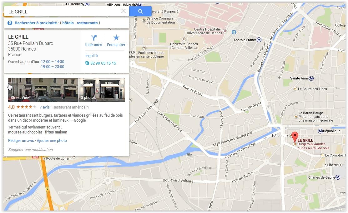 Google Maps du restaurant le grill à Rennes