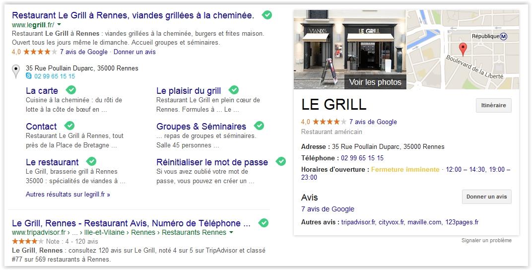 """Knowledge graph du restaurant le grill à Rennes sur la requête """"restaurant viande rennes"""""""